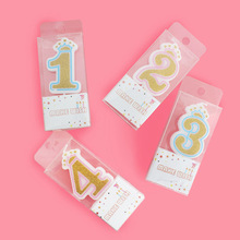 1pc Creative 0-9 blue/pink crown Birthday Number Candles for Kids Adult Girls Boys Party Cake Supplies