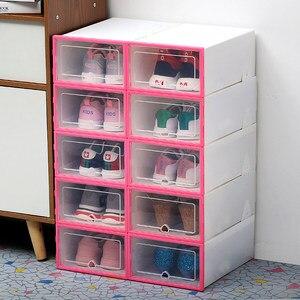 Image 1 - 10 pc 透明靴箱肥厚透明防塵靴収納ボックス canbe 積み重ねコンビネーションシューズキャビネット靴オーガナイザー