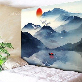 Japanese Style Wall Tapestry Abstract Moon Sunset Mountain Forest Hippie Mandala Landscape Hanging Carpet Cloth