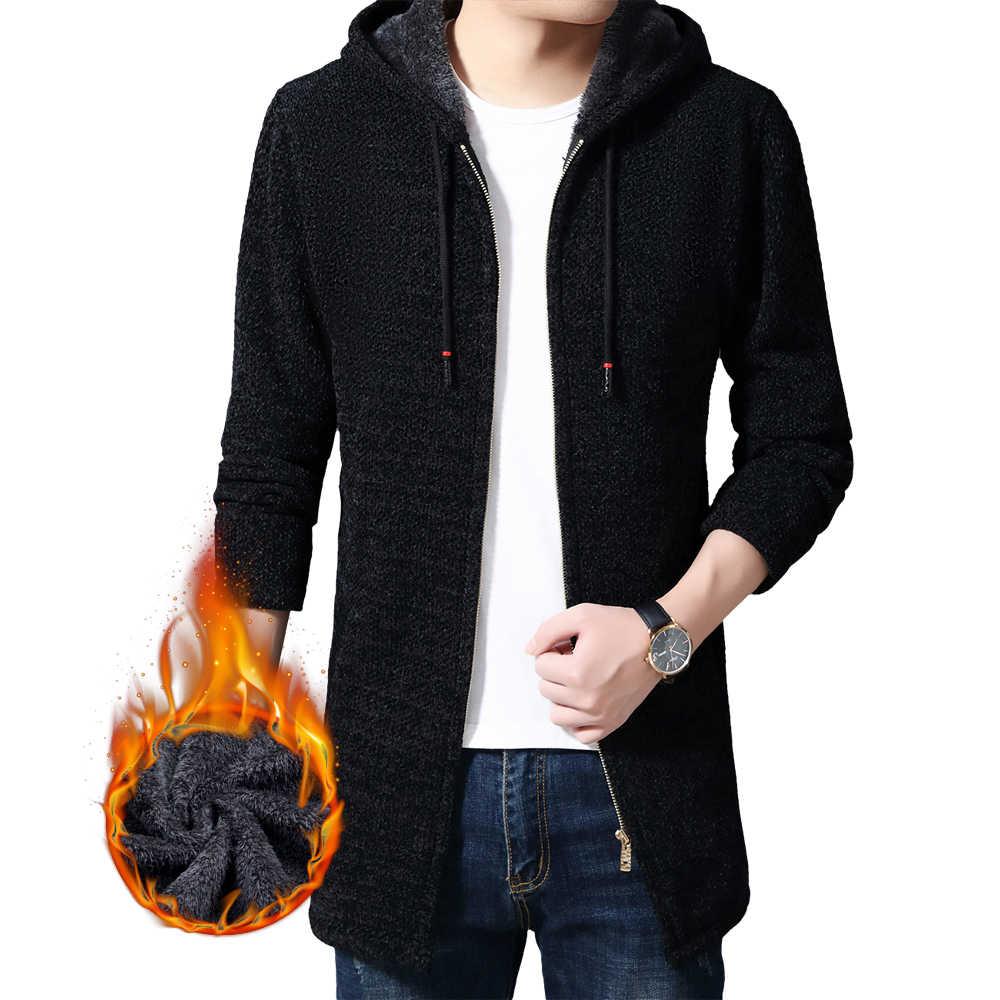 2020 겨울 두꺼운 따뜻한 카디건 후드 코트 코튼 라이너 지퍼 캐시미어 스웨터 남성 코트 의류