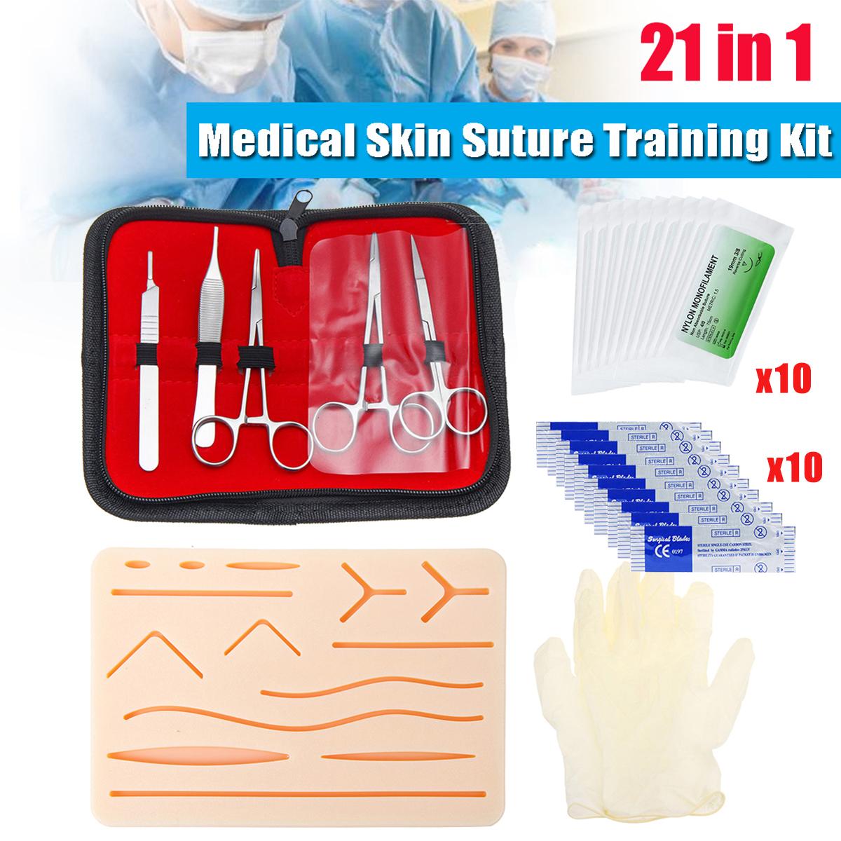 25pcs Surgical Suture Training Kit Skin Operate Suture Practice Model Training Pad Needle Scissors Tool Kit Medical Teaching