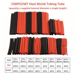 150pcs/set 7.28m Black and Red Polyolefin Shrinking Assorted Heat Shrink Tube Wire Cable Insulated Sleeving Tubing Set 2:1