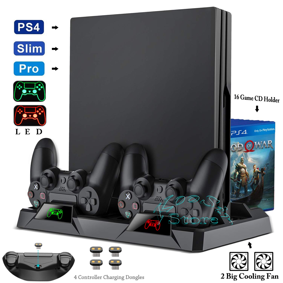PS4 Pro Slim Console Stand Cooling Fan Controller Charger Charging Dock Games CD Storage Play Station PS 4 Accessories Support