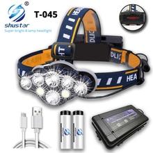 Led-Headlamp Materials Lightweight Outdoor Waterproof Super-Bright Lumen 5000 with 8--Led-Bulbs