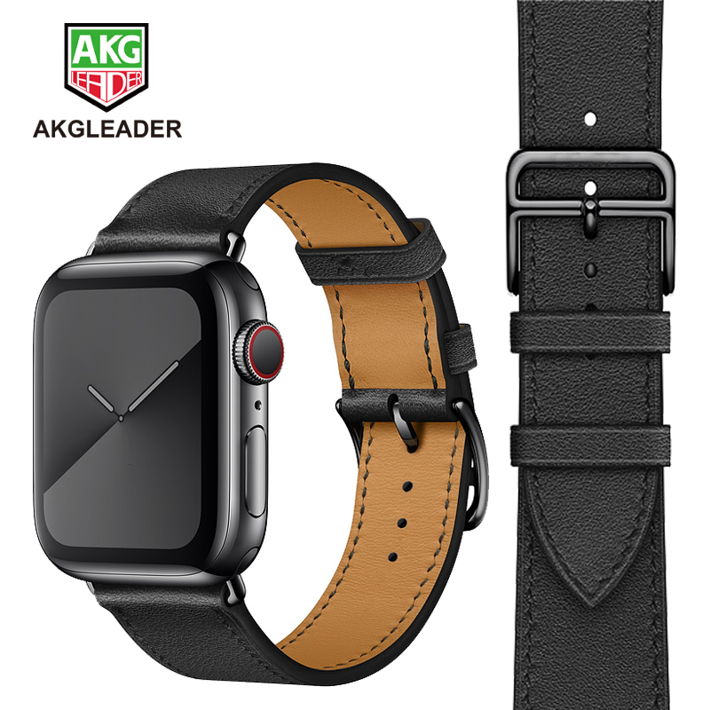 AKGLEADER Bracelet For Apple Watch Series 5 4 40/44mm Watchband Genunine Leather BLACK Buckle Wrst Strap For Apple Watch 3 2