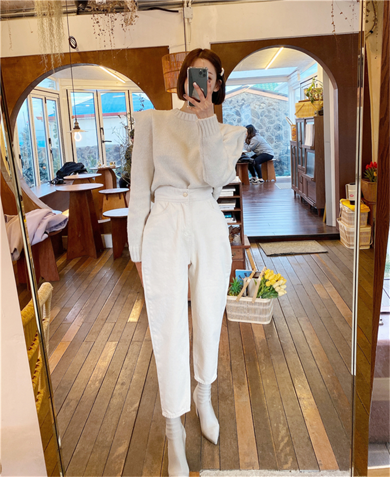 BGTEEVER Women Harem Jeans Pants Fashion High Waist Loose White Denim Jeans Female Buttons Trousers Spring 2020 Streetwear