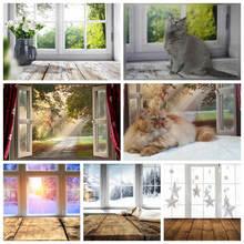 Yeele FONDO DE FOTO DE fotofono, ventana de primavera, tablero de madera de sol, Fondo de fotografía de vinilo para bebé, sesión fotográfica para estudio fotográfico