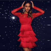 Ocstrade 2019 Women Lace Red Bandage Dress Bodycon See Through Mesh Bandage Dress Long Sleeve Tassels Bandage Dress Rayon