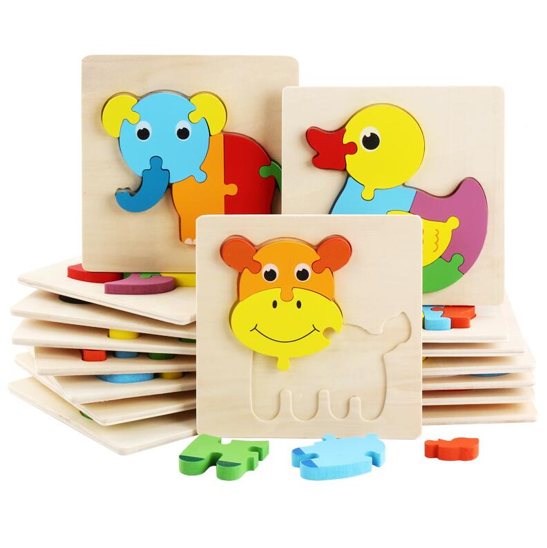 Kid Early Educational Toys Baby Hand Grasp Wooden Puzzle Toy Shape Color Animal Learning Education Child Wood Toy GYH 5