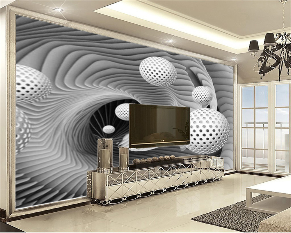 3d Home Wallpaper White Circle Floats ...