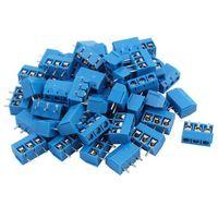 100 Uds azul ABS KF301 3P 5 08mm 3 Pin conectar Terminal tornillo conector Terminal Terminales     -