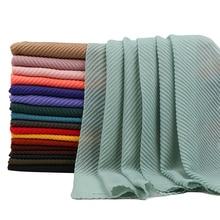 Морщин хлопок хиджаб шарф простые шали кашне в мусульманском стиле crinkle платок сплошной цвет обертывания тюрбаны-повязки шарфы 23 Цвета