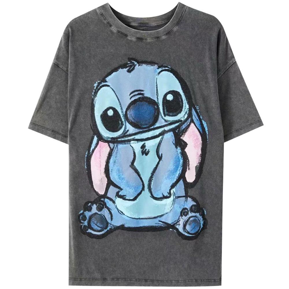 Disney Family T-Shirt Fashion Winnie the Pooh Mickey Mouse Stitch Fairy Dumbo SIMBA Cartoon Print Women T-Shirt Cotton Tee Tops 31