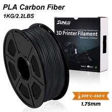 SUNLU filamento de fibra de carbono PLA para impresora 3D, prémium, fibra de carbono extremadamente rígida, 1,75mm +/ 0,02mm, 1 KG (2,2 lb)