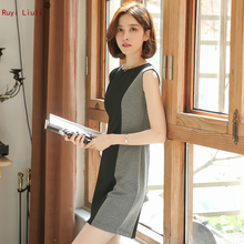 Professional business commuter dress female work clothes spring and summer new sleeveless temperament contrast color stitching