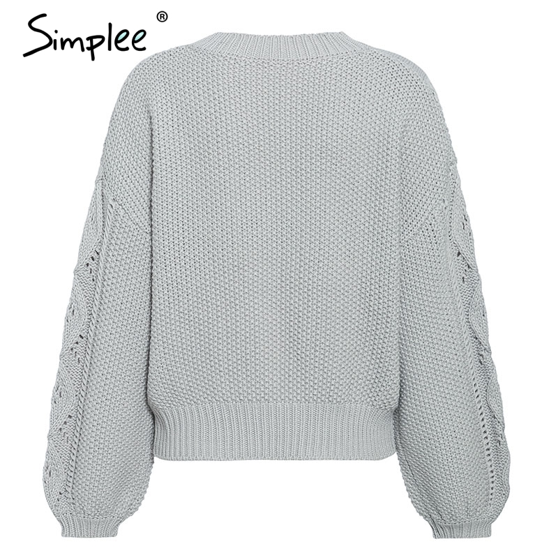 Simplee Hollow out knitted women pullover sweater Lantern sleeve female autumn winter sweater O-neck casual ladies jumper 19 11
