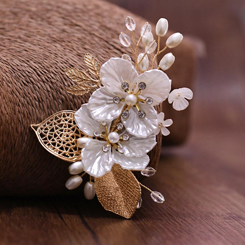 TRiXY XZ02 Golden Leaf Groom Boutonniere Wedding Party Man's Suit Corsage Wedding Brooch Custom Floral Wedding Corsage