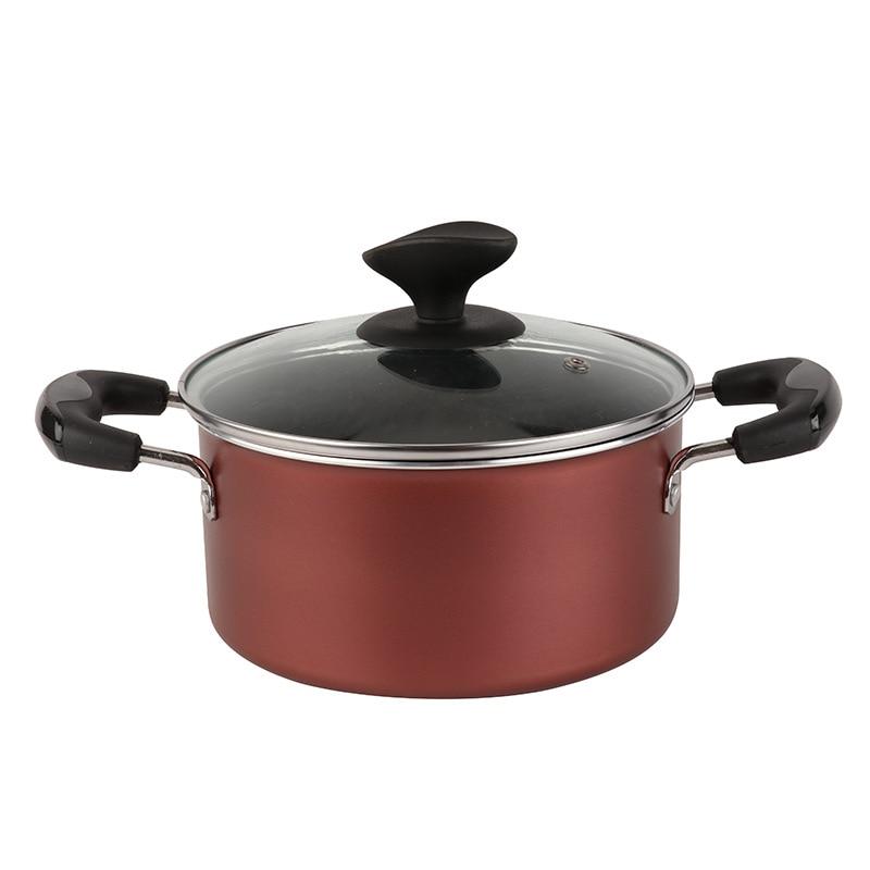 Pot à soupe en acier inoxydable Double fond Double face marmite avec couvercle Pot en verre han shi guo Pot à lait cuisinière à gaz électromagnétique F