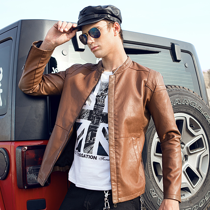 2019 Autumn And Winter New Style MEN'S Leather Coat Korean-style Slim Fit Pu Stand Collar Motorcycle Jacket Fashion Casual Leath