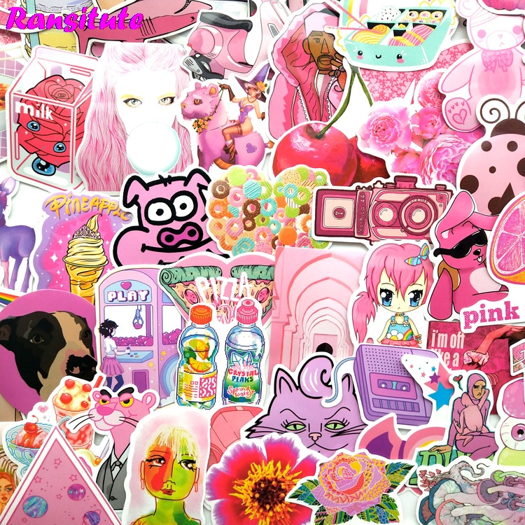 64pcs/set Pink Girl PVC Waterproof Fun Sticker Toy Luggage Sticker Motorcycle And Luggage Notebook Sticker R487
