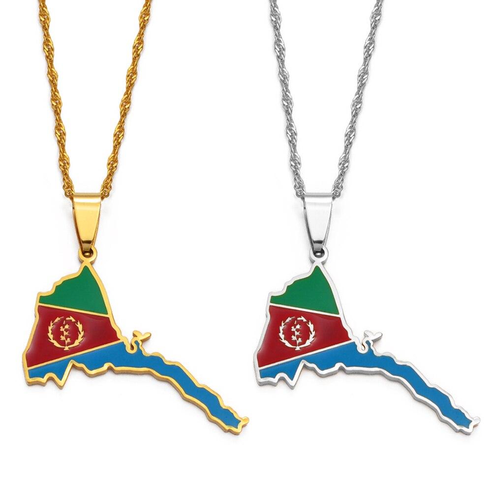 Anniyo Эритрея карта кулон в форме флага тонкие ожерелья для женщин девушек золотые ювелирные изделия Африканская Карта эритрейской #136821