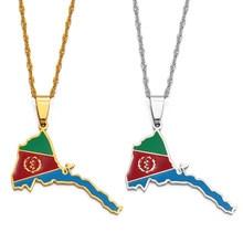 Anniyo eritreia mapa bandeira pingente fino colares para meninas cor de ouro jóias africano mapa da eritreia #136821