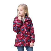 Cherry Red Waterproof Fashion Hooded Fleece Child Coat Baby Girls Jackets Children Outerwear Kids Outfits For Height of 98 152cm