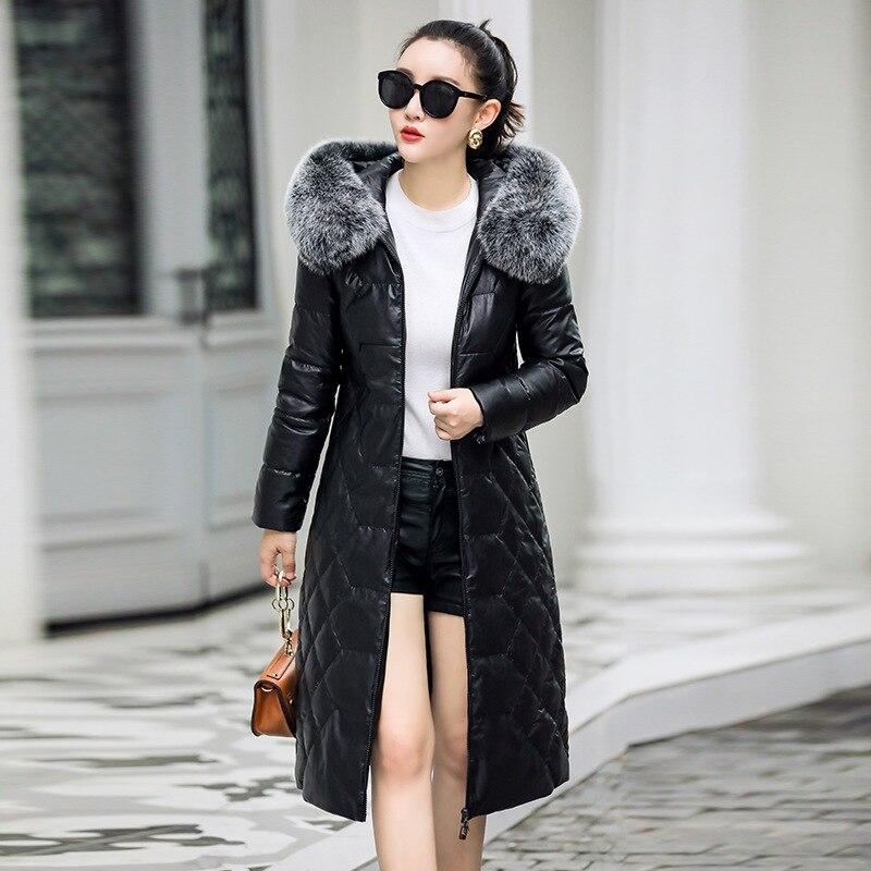 Women 2020 Winter Genuine Sheepskin Leather Jacket Fox Fur Collar Hooded Duck Down Coat Chaqueta Mujer M2221YY526