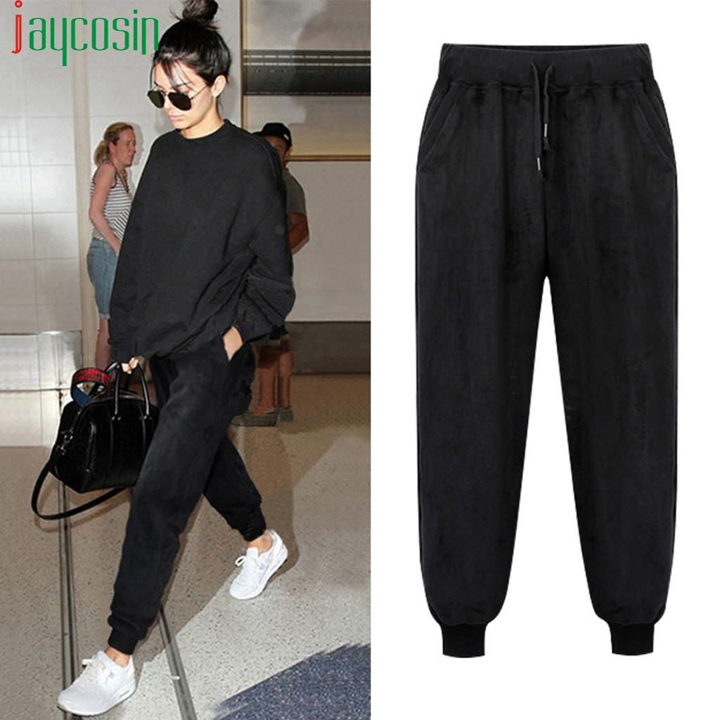 Women Sports Trousers Cotton Loose Solid Color Casual High Waist Elastic Band Plus Size Pants Ladies Straight Sports Trousers