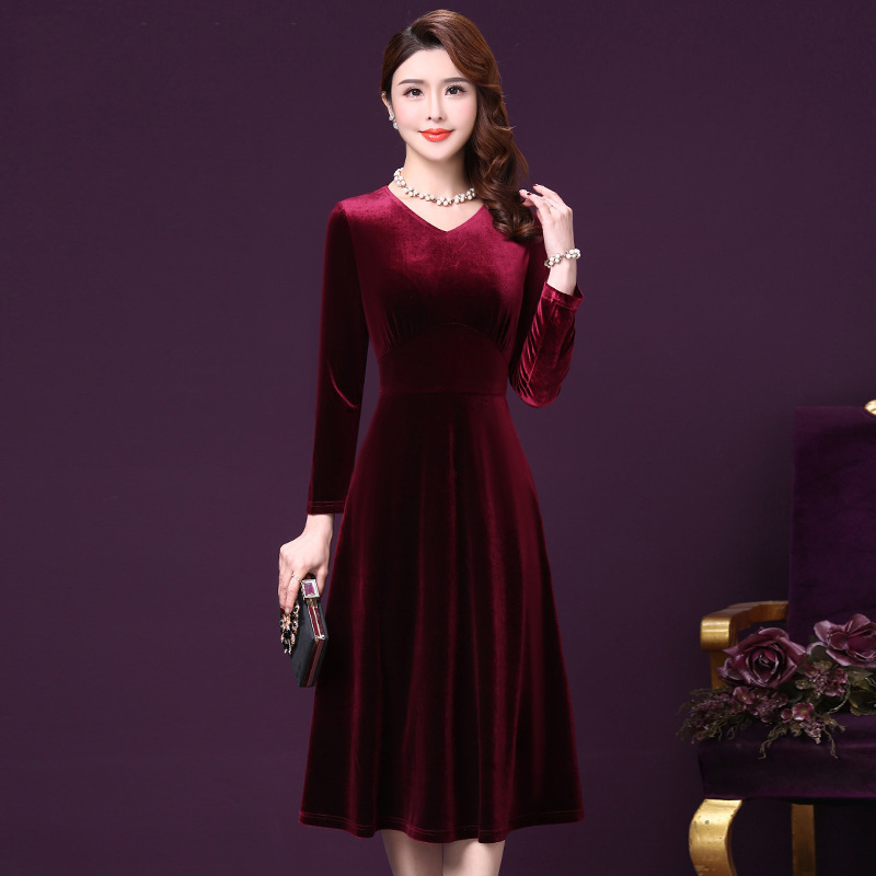 2020 Temperament Of Banquet Of New Fund Of 2020 Autumn Winters At Ordinary Times Can Wear Dress Long Toast Wine Red Clothing