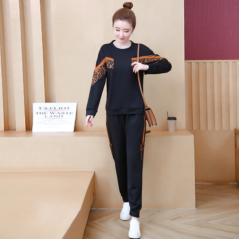 Black Leopard Print Two Piece Sport Tracksuits Sets Women Plus Size Korean Sweatshirt And Pants Suits Casual Fashion Outfits 31