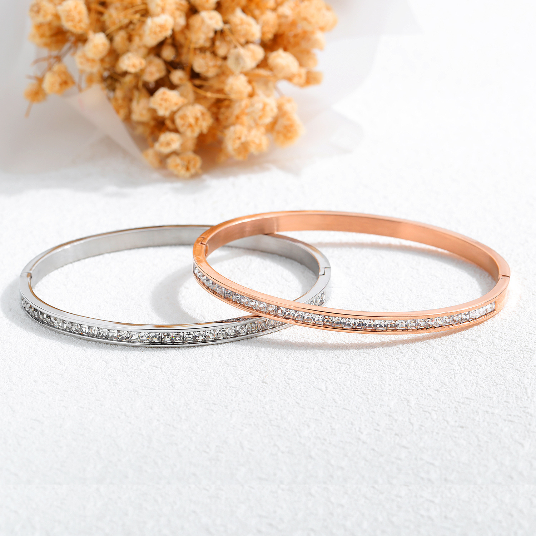 Korean-style-Style Hot Selling Hand Jewelry Diamond Set Leaf Rose Gold Titanium Steel Bracelet Jewelry Watch Accessories Bracele