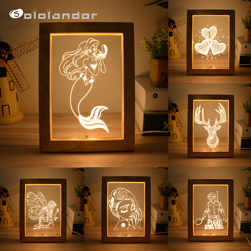 2020 Newest 3D Visual Wooden Photo Frame Light 3W Warm / Cold Light Night Lamp USB Atmosphere Night Light Beech Or Oak Random