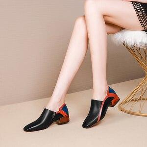 Image 4 - 女性のフラットシューズ本革フラットプラットフォーム brogues 女性夏の女性のグラディエーターフラットラバーソール靴 2020