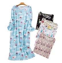 Adorável dos desenhos animados saia longa mulher sleepdress algodão manga comprida outono noite vestido feminino sleepwear plus size