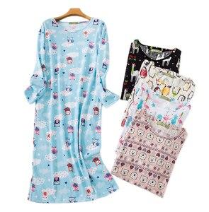 Image 1 - Adorável dos desenhos animados saia longa mulher sleepdress algodão manga comprida outono noite vestido feminino sleepwear plus size