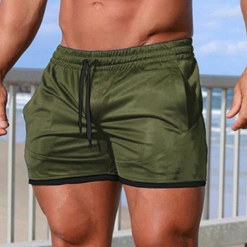 Shorts Men Breathable Sport Swimming Shorts Solid Color Elastic Waist Beach Shorts Summer Swim Shorts