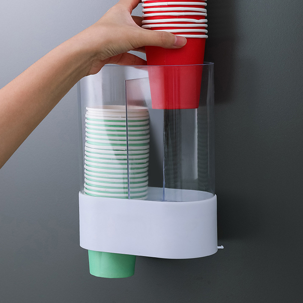 Automatic Wall Mounted Disposable Cup Dispenser Holder Space Saving Remover Plastic Shelf Home Office Dustproof Storage Rack