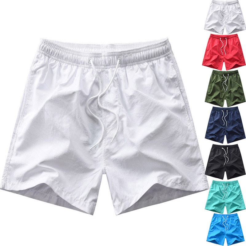 19 New Style Solid Color Quick-Dry Beach Shorts Men's Fitness Sports Shorts Thirds With Lining