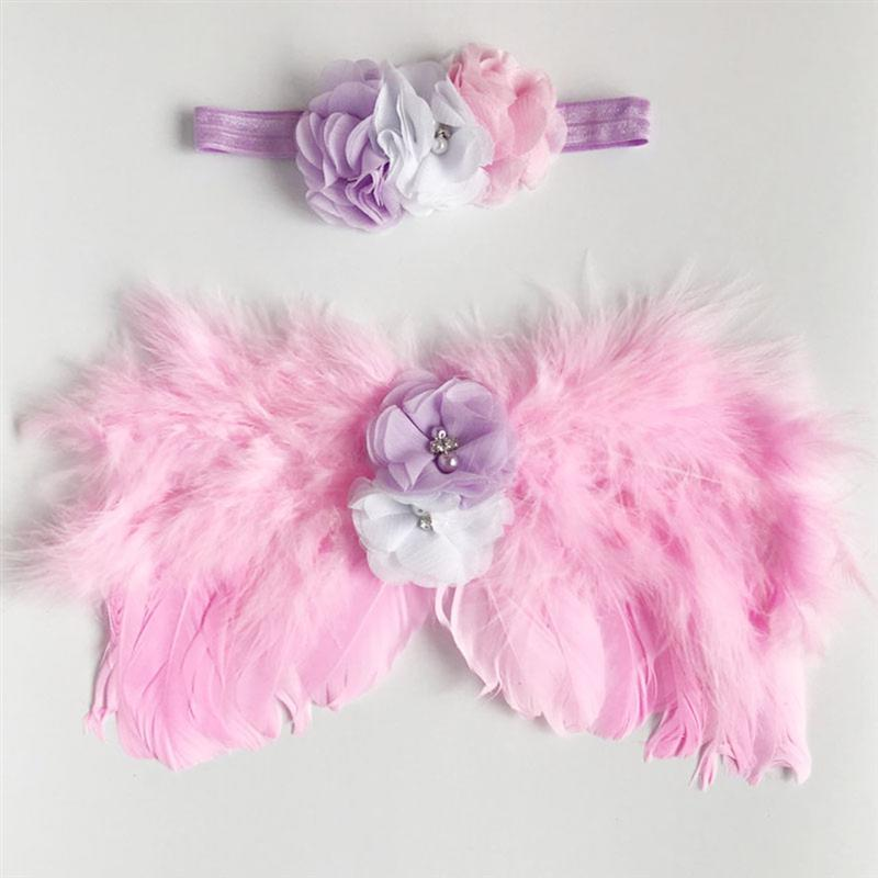 1 Set Of Photo Props From The Baby'S Birth Photo Souvenir Photos Of Angel Wings And Cute Headband Photo Studio Props