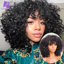 200% Density Human Hair Wigs With Bangs Short Brazilian Remy Hair Machine Made Kinky Curly Wig Glueless For Black Women Luffy