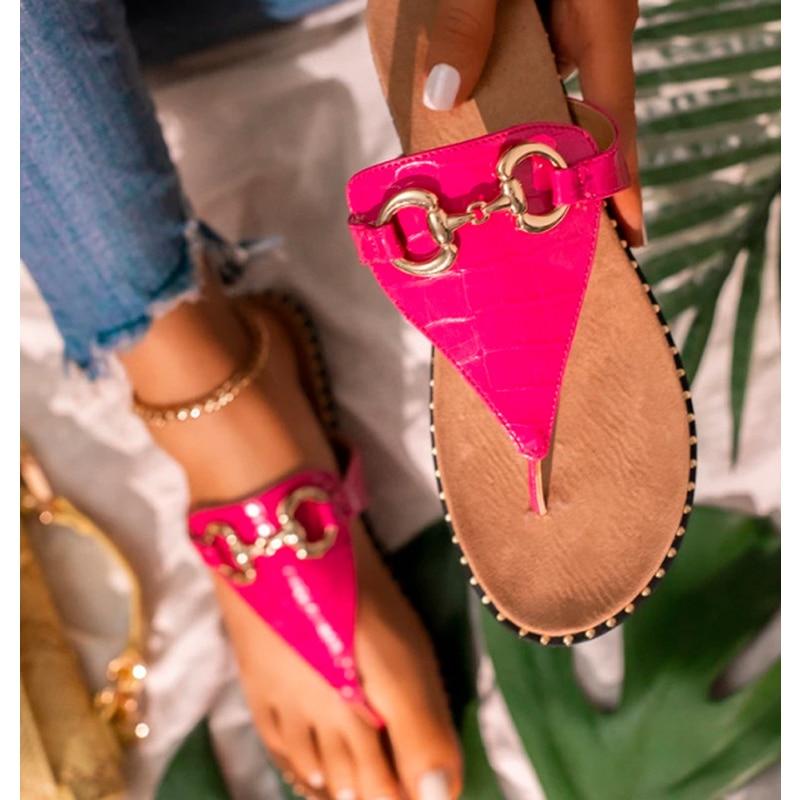 Women Summer Flip Flops 2021 Metal Slippers Woman Slides Female Bohemia Flats Ladies Beach Shoes Fashion Women's Sandalias
