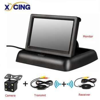 XYCING 4.3 inch Foldable Car Monitor TFT LCD Display Cameras Reverse Camera Parking System for Car Rearview Monitors NTSC PAL image