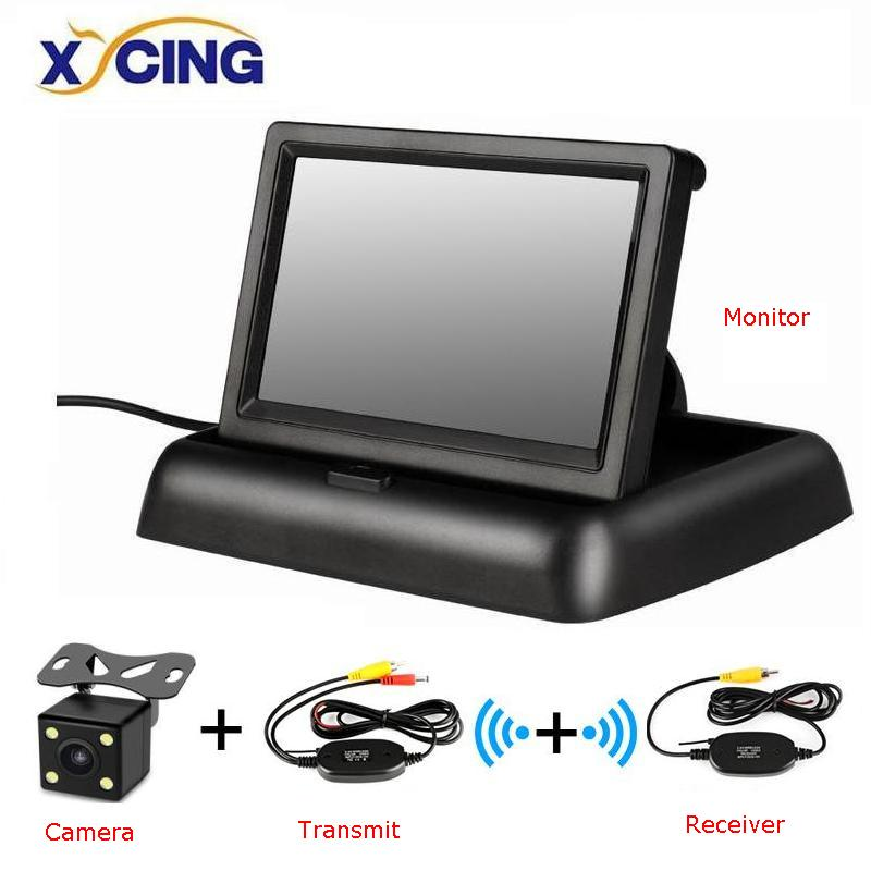 XYCING <font><b>4.3</b></font> <font><b>inch</b></font> Foldable Car <font><b>Monitor</b></font> TFT LCD Display Cameras Reverse Camera Parking System for Car Rearview <font><b>Monitors</b></font> NTSC PAL image
