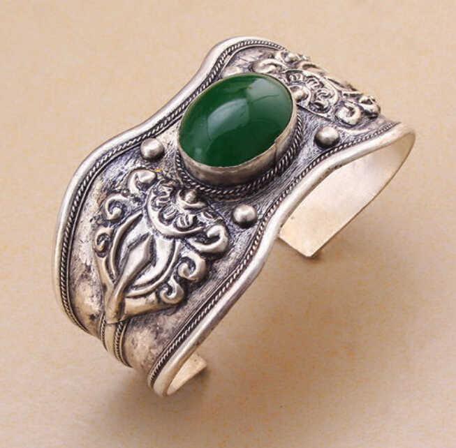 914 + + + Retro Vintage Dragon Green bransoletka mankietowa bransoletka tybet srebrny