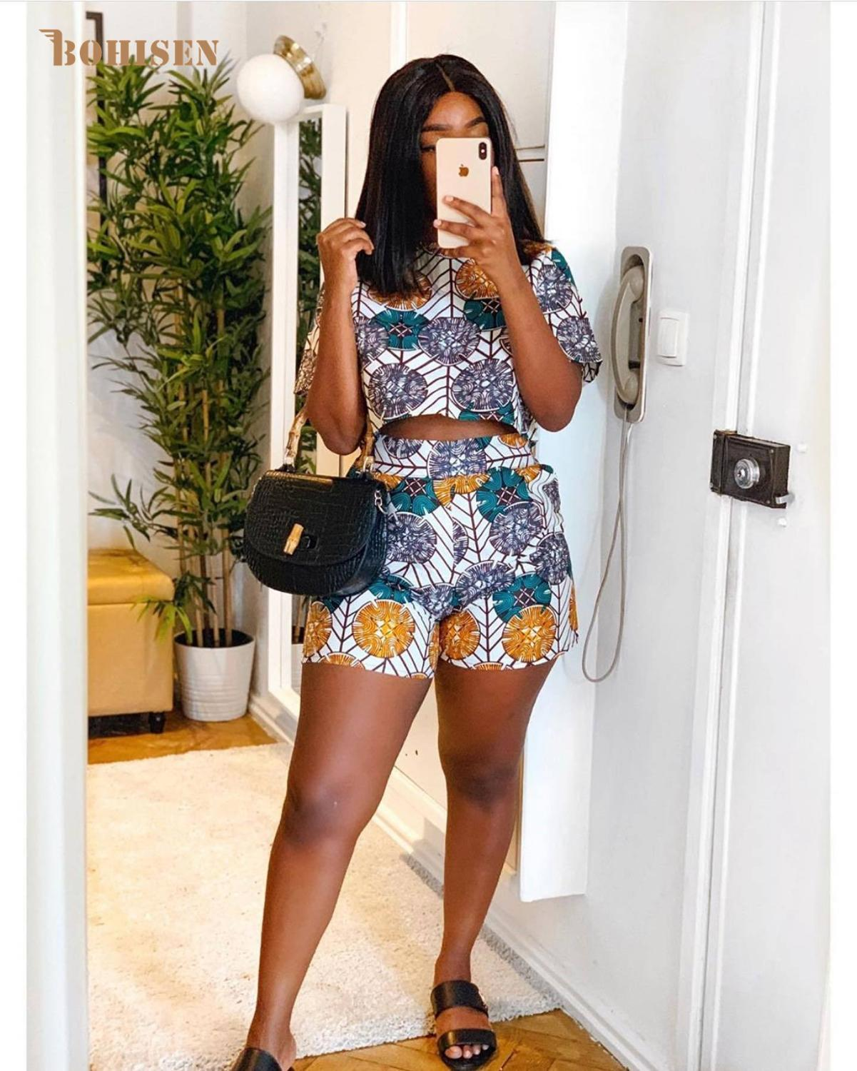 Bohisen African Dresses For Women Short Sleeve Top Shorts Dashiki Woman Suits  African Clothes