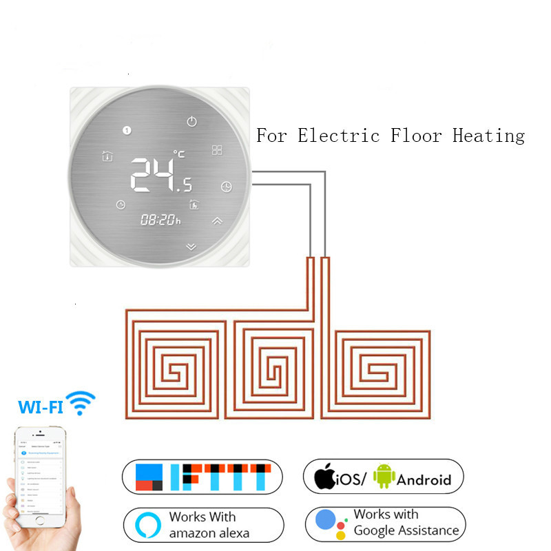 WiFi Smart Thermostat Temperature Controller Electric Underfloor Heating Tuya APP Remote Control Work With Alexa Google Home