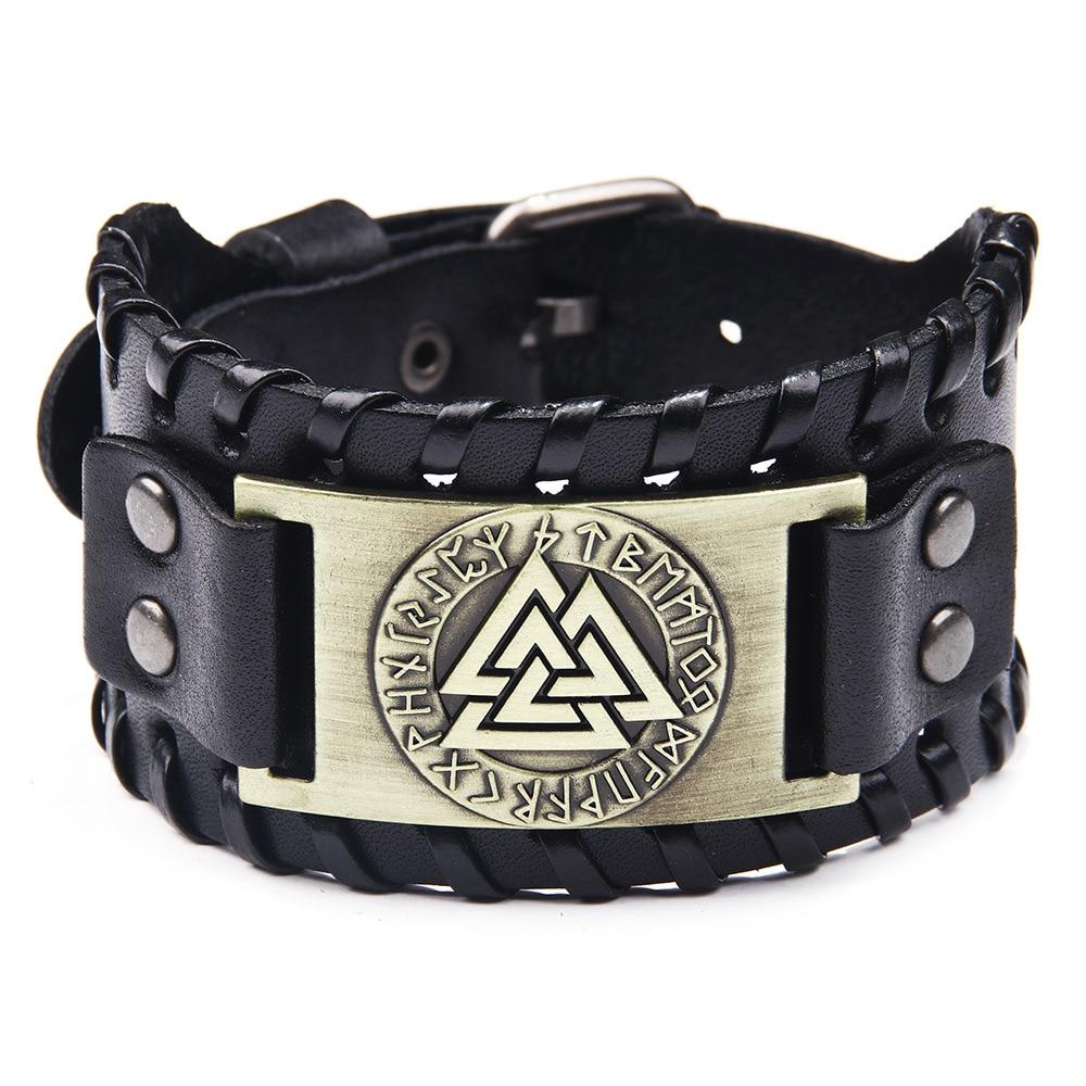 2019 new Viking leather bracelet 4cm wide leather fashion men s punk retro style elegant personality