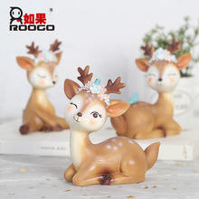 Decoration Accessories Home Decor Christmas Original Crafts Sika Deer Small Ornaments Creative Lovely Cartoon Car Decorations
