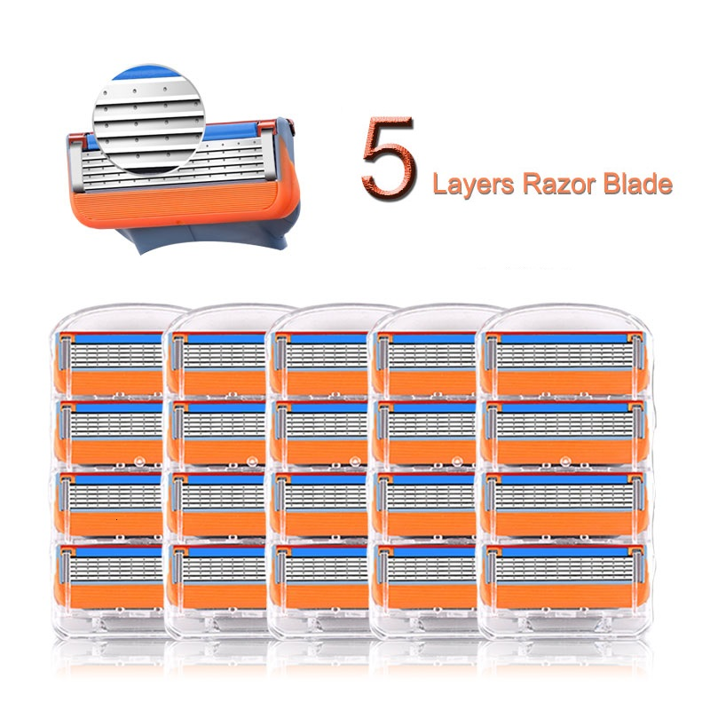 Replacement Blades Fit Gillettee Fusione 5 Layers Stainless Steel Razor Blades Straight Razor For Male Face Care Manual Shaving
